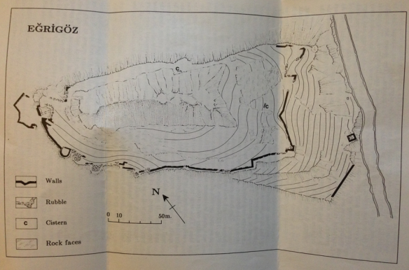 Surveyor's map of the fortress.  The village is on the left (west), the river on the right (east). With the exception of the western approach, sheer cliff face would discourage any thought of escape or assault.