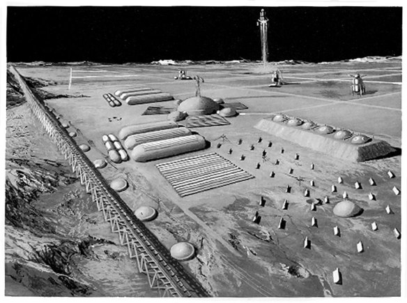 A 1950s artist's impression of a moon base. x-ray delta one